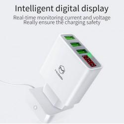 Cargador Intenligente 15W 3 Puertos USB 3A - Máximo 2.4A 110/220V