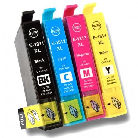 4 X T18 Xl Non Oem Cartuchos De Tinta Para Impresora Epson Xp 102