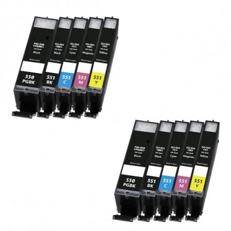 10 X tinta de impresora Canon PGI550XL/CLI551XL PIXMA IP8750 MG6350 MG7150 MG7550