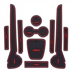 Pack Completo 10 Alfombra Antideslizante Caucho para Compartimentos VW Polo 2011 2012 2013 2014 2015